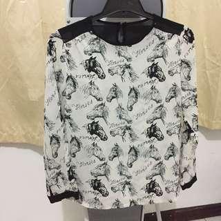 Horses pattern blouse