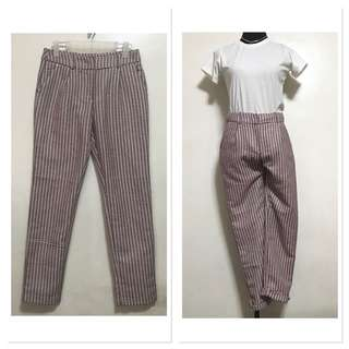 [Preloved] Houndstooth Red Printed Trousers Pants Jeans Slacks