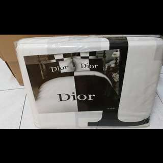 Dior Luxury Cotton King Quilt Cover Set (1 fitted bedsheet, 1 quilt cover, 2 pillow cases)