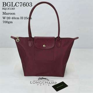 Longchamp Le Pliage Long Handle Maroon