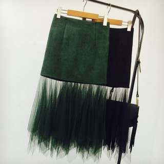 PO // Aniela Ombre Mesh Suede Skirt // KS026