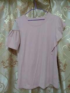 粉色不規則手袖 女裝上衣