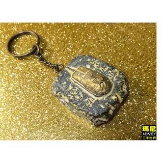 黃金古文明外星科技-不知名奇特滑鼠穿越時空古物浮雕石板造形鑰匙圈-現貨一對共2隻-品相佳