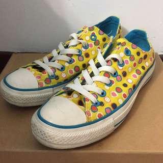 🚚 Converse All Star 黃色 幾何 點點 彩色 復古 低筒 帆布鞋