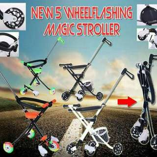 New 5 Wheel Flashing Magic Stroller ( 5 WHEEL + BASKET + FENCE )