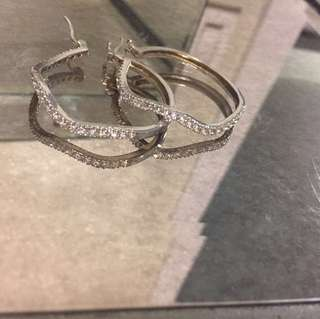 REALSterling silver and cubic zirconia hoops