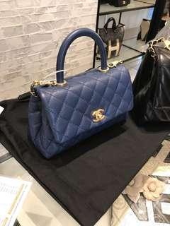 Chanel dark blue mini coco handle