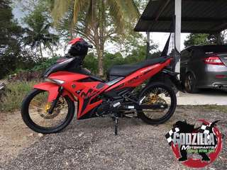 COVERSET YAMAHA Y15ZR MX KING MERAH MATTE RED KING 2016 2017