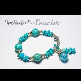 Handcrafted gemstone bracelet - December birthstone