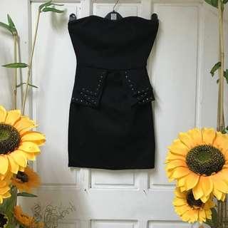 Black Peplum Studded Bodycon Dress
