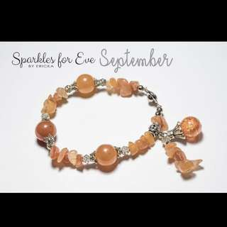 Handcrafted gemstone bracelet - September birthstone