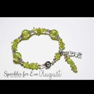Handcrafted gemstone bracelet - August birthstone