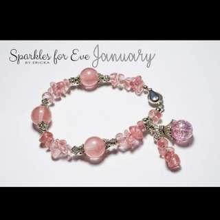 Handcrafted gemstone bracelet - January birthstone