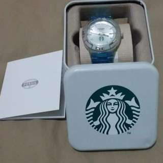 Mens fossil silver  watch starbucks collectors item