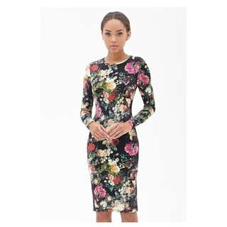 Forever 21 Floral Bodycon Dress Long Sleeve Black Green
