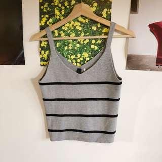Grey striped knit top