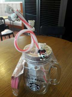 Starbucks bearista 粉紅logo 雙蓋玻璃杯組