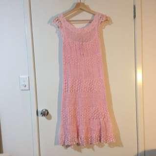 Vintage pink crochet dress