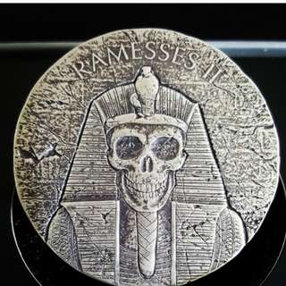 2017 2 oz Ramesses II AFTERLIFE Egyptian Silver Coin .999 Republic of Chad