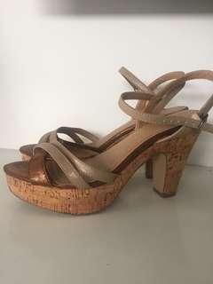 Sparkly Bronze Novo cork heels