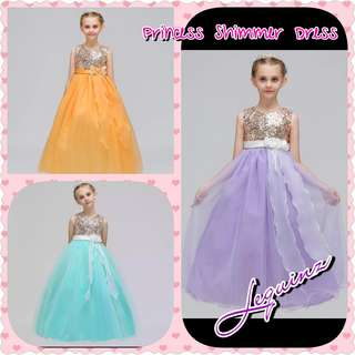 Shimmering Long Dress Gown Kids Flower Girls Party