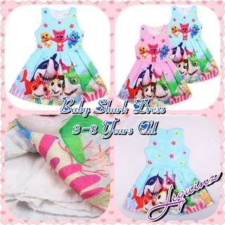 Baby Shark Girls Dress 👗 Pink/Blue