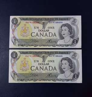 🇨🇦 *UNC* 1973 Canada $1 Paper Banknote~2pcs Consecutive Pair