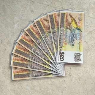 8 PCS SINGAPORE $20 BIRD A/31 021003-10 RUN UNC