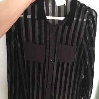 Zara Velvet/Sheer Black Striped Blouse With Pockets