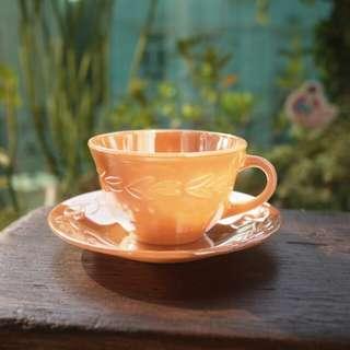 Anchor Hocking Fire King 60年代 Peach coffee cup set 咖啡杯 連底盤 古董