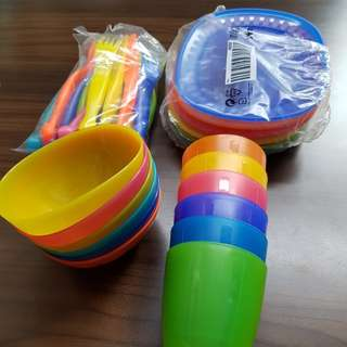 IKEA Kids' Colourful Cups, Bowls, Plates & Cutlery (Fork, Spoon & Knife) Set of 6