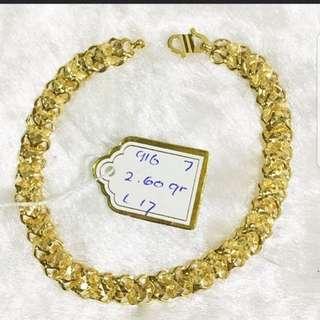 916 Gold Bracelet Vitara 17cm 👉Cash On Delivery👈