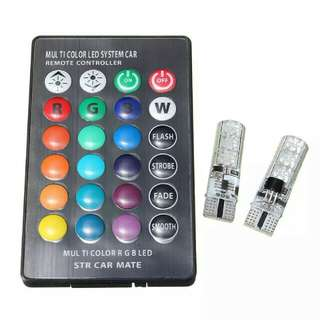 2pcs Multi Color T10 5050 SMD RGB Remote 6 LED Controller