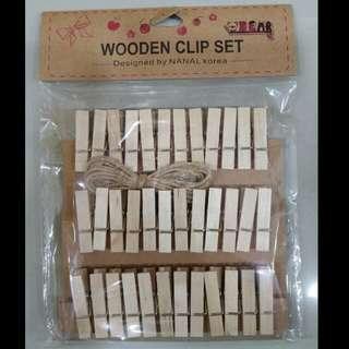 Mini Wooden Clips #1 Plain (36pcs)