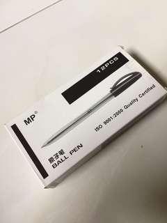 12 Black Pens