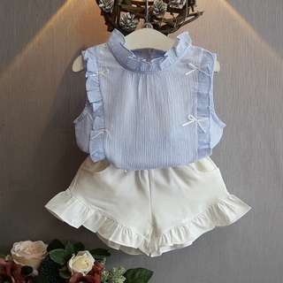 Sleeveless Shirt + Short Pants (Available in Pink & Blue)