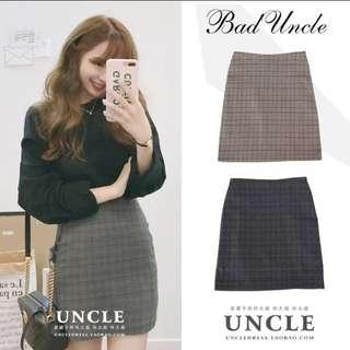 Dark Blue Checkered Office Skirt