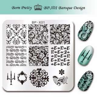 $25/3塊 包平郵 Born pretty 巴洛克 方形美甲印花板 x01