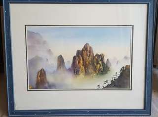 """""""Mountaon in mist""""  16""""× 22"""" Watercolor painting"""