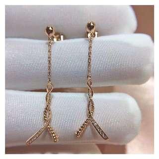 氣質款式💎18k玫瑰金鑽石耳環🎁全新生日禮物推薦