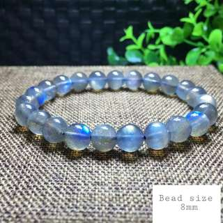 Very nice AAA Labradorite bracelet. Size 8mm x 22 beads. Very clear shin and Icy beads.