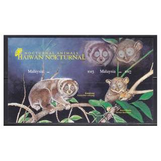MALAYSIA 2008 NOCTURNAL ANIMALS IMPERF. SOUVENIR SHEET OF 2 STAMPS IN MINT MNH UNUSED CONDITION