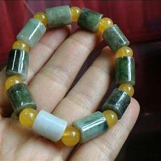 天然緬甸玉油青桶珠鍊