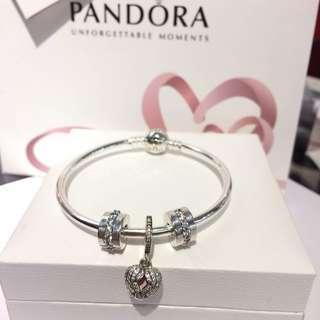 Pandora Angel Heart Dangle Bangle Set