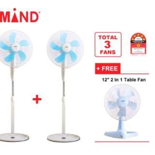 """2pcs 16"""" stand fan + free one 12"""" table fan"""