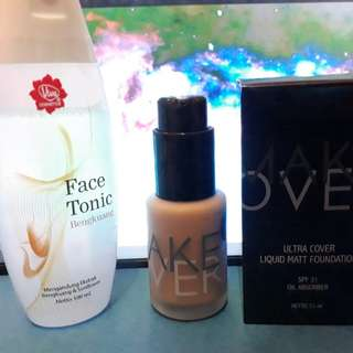 Make Over Foundation 04 + (FREE face tonic begkoang)