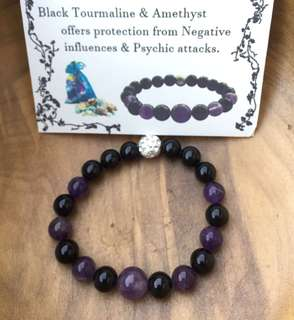 Amethyst with Black tourmaline for protection