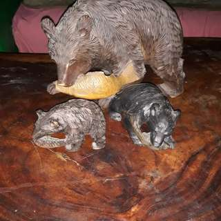 Antique wooden family bear one set