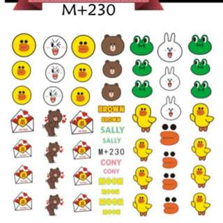 LINE and KAKAO nail art / decal / stickers