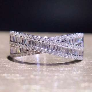 18k白金梯方交織鑽石戒指💍53分靚石好閃🎁情人節生日禮物女朋友閨蜜推薦